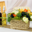 Wedding decoration on table witch brandy and fruits  — Stock Photo