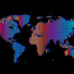 Regenbogen Welt Symbol Computer Bildschirm Makro — Stockfoto