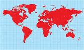 World Map- Miller Cylindrical Projection — Vector de stock
