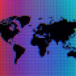 Black Pixel World Map on Rainbow Ocean — Stock Photo