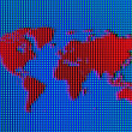 红色像素世界地图上的蓝色海洋 — 图库照片