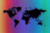 Black Pixel World Map on Rainbow Ocean — Stock Photo
