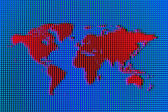 Red Pixel World Map on Blue Ocean — Stock Photo