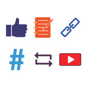 6 Social Media Icons — Stock Vector