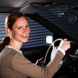 A Happy Car Driver at Night — Photo
