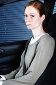 Sad Car Passenger — Stock Photo