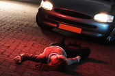 A Woman Killed in a Car Accident — Stock Photo