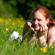 Girl on a Spring Field — Stock Photo