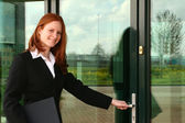 Assistant Entering Office — Stock Photo