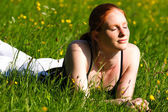 Woman on Spring Field — Stock Photo