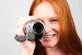Woman with Video Camera — Stock Photo