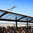 Bicycles Parked at Train Station — Stock Photo