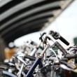 An Urban Abstract of Parked Bicycles — Stock Photo