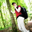 Happy Hiker in the Woods — Stock Photo