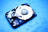 Wet Hard Disk in Blue — Stock Photo