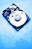 Computer hard disk on a wet surface — Stock Photo