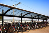 Bicycles at a Train Station — Stock Photo