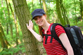 A Young Woman in the Woods — Stock Photo