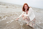 Red Haired Woman at the Sea — Stock Photo