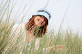 Happy Woman Among Grass — Stock Photo