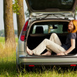 Foto Stock: Holiday or outing - womin car