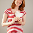 Love - Young woman posing as a Valentine — Stock Photo