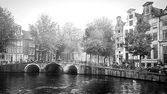 Amsterdam on a foggy morning — Stock Photo