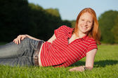 An attractive young woman outdoors — Stock Photo