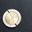 Euro crisis - broken coin — Stock Photo