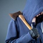 Dangerous person with an axe, thug — Stock Photo