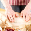 Kneading dough for pie or cookies — Stock Photo