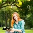 Stock Photo: WomDoing Bible Study in Park