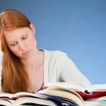 Sad or Bored College Student Reading — Stock Photo #33671455