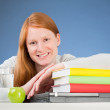 Happy Student with Textbooks — Stockfoto