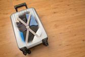 Travel Suitcase Packed with Clothes — Foto Stock