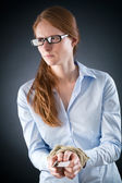 Woman with Tied Hands and Credit Debt — Stock Photo