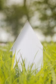 House on a Green Field in Spring — Stock Photo