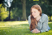 Woman Relaxing in a Park — Foto Stock