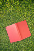 Open Red Book on Green Grass — Stock Photo