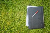 Affärsdokument på grönt gräs — Stockfoto