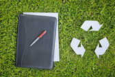 Recycling Symbol and Business Documents — Stock Photo