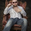 Sleazy Man in a Vintage Chair — Stock Photo