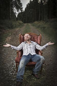 Harmonious and Happy man in the Woods — Stock Photo