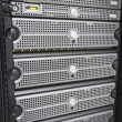 Servers and SAN in rack — Stock Photo