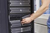 IT Engineer Maintains SAN — Stock Photo