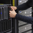 IT Consultant Replace Blade Server — Stock Photo #28018099
