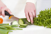 Chopping Vegetable to a Healthy Salad — Stock Photo