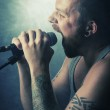 Rocker Sings in Concert — Stock Photo
