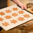 Baking Gingerbread Stars — Stock Photo
