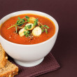 Fresh Tomato Soup with Croutons and Herbs — Stock Photo